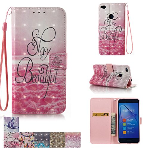 Huawei P8 Lite 2017 Case, Firefish [Card Slots] [Kickstand] Flip Folio Wallet [3D Painting] Case Shell Scratch Resistant Protective Cover for Huawei P8 Lite 2017 -Beautiful - Lite Purse