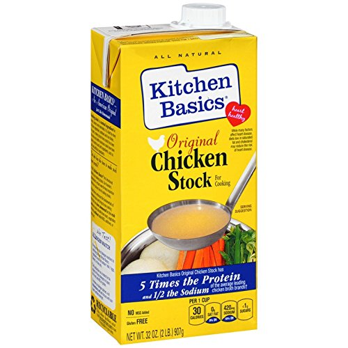 KITCHEN BASICS,INC, All Natural Chicken Stock, Pack of 3, Size 32 FZ, (Low Carb Dairy Free Gluten Free Low Sodium Yeast ()