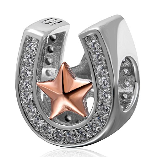 Ollia Jewelry 925 Sterling Silver Charm with White Zircon Stones Rose Gold Plated Star in Lucky Horseshoe Openwork European Beads and Charms