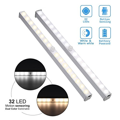 Elfeland Closet Light, Under Cabinet Light 32 LED Dual Colors Wireless Motion Sensor Battery Powered White Warm/White Safe Lights for Cupboard Wardrobe Stair Hallway (Bar - 2 (Cupboard Light)