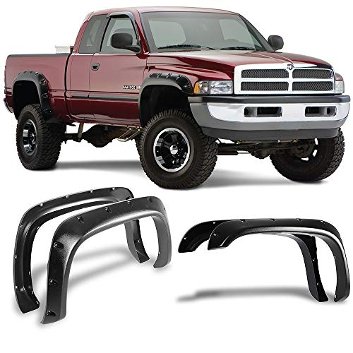 Fender Flares Fits 1994-2002 DODGE RAM 1500 2500 | Pocket-Riveted Style Textured Black ABS Front Rear Right Left Wheel Cover Protector Vent by IKON MOTORSPORTS