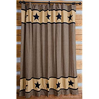 Olivias Heartland Black And Tan Star Shower Curtain