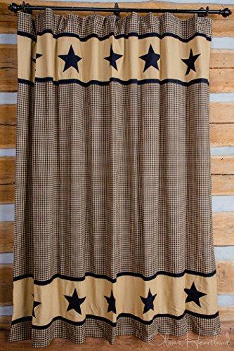 Olivia's Heartland Black and Tan Star Shower Curtain
