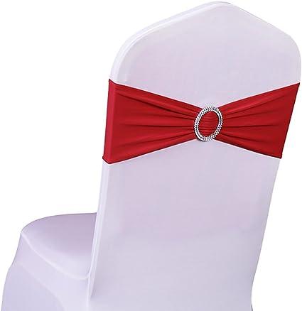 SINSSOWL 100 pcs élastique Slider Housse de Chaise Bande avec Boucle pour Mariage Décor de Chaise Lycra nœuds … Rouge