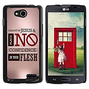Qstar Arte & diseño plástico duro Fundas Cover Cubre Hard Case Cover para LG OPTIMUS L90 / D415 (DELIGHT IN JESUS)