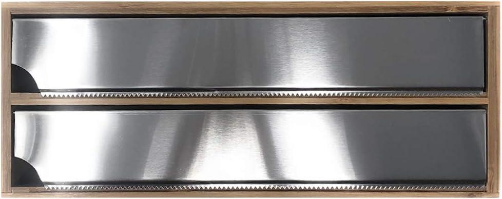 Dispensador 2en1 Dispensador con Cuchilla de Papel de Aluminio Portarrollo para Papel de Aluminio Bamb/ú Film Space Home