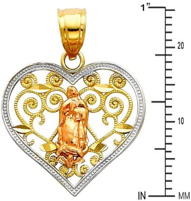 TWJC 14k REAL Yellow Gold Religious Jesus Heart Enamel Picture Charm Pendant