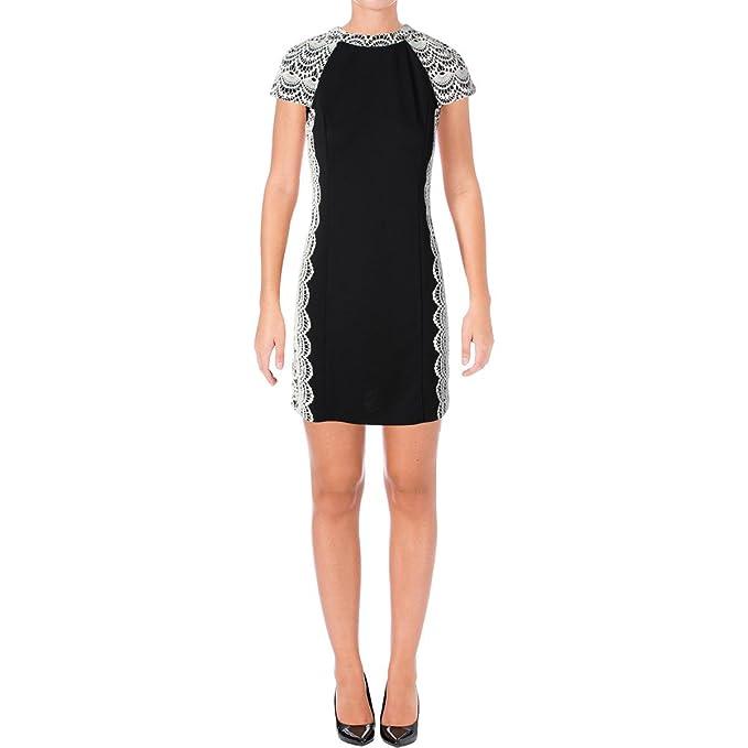 Amazon Com Kensie Womens Crochet Trim Cap Sleeves Cocktail Dress B