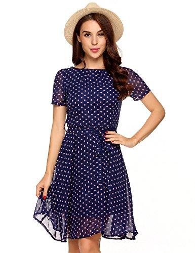 Zeagoo Women's Summer Casual Vintage Polka Dot Chiffon A-Line Midi Dress Blue L