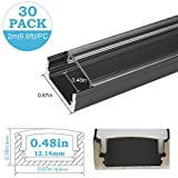 inShareplus 30Pack 6.6ft/2m LED Aluminum Channel Profile, Aluminum Extrusion with Clear Cover U-Shape Surface Mount for 8mm 10mm Single Row 3528 5050 LED Strip Lights Installation