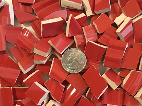 100+ Mosaic Tile Art Supply for Mosaics & Crafts ~ Christmas Red Tiles (T#406) by J Pepper's Art By Hand