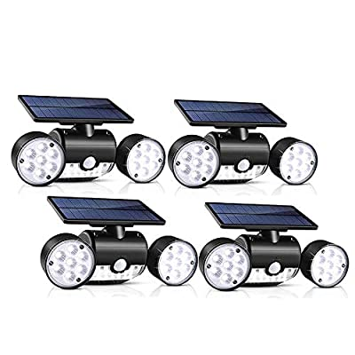 Outdoor Solar Lights, YUJENY 30 LED Dual Head Spotlights Waterproof Solar Poweredwith Wall Lights 360-Degree Rotatable Solar Motion Security Night Lights for Outdoor Pation Garden Deck
