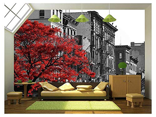 (wall26 - Red Fall Tree in Black and White NYC Street Scene on 2nd Avenue in The East Village of Manhattan, New York City - Removable Wall Mural | Self-Adhesive Large Wallpaper - 66x96 inches)