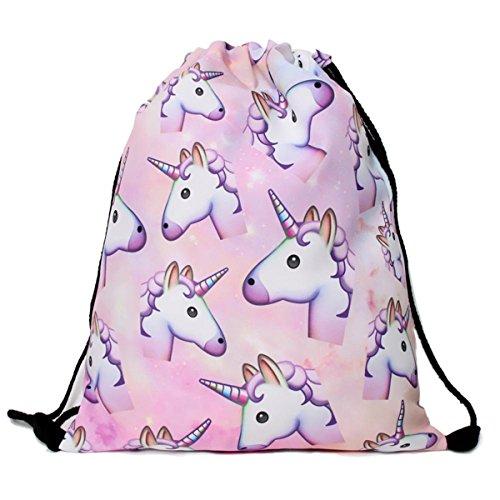 Men's Women's Print Shoulder Drawstring Bag Backpack String Bags School Rucksack Gym Handbag (Animals,Foods) 15″x11″ (DB-90) Review