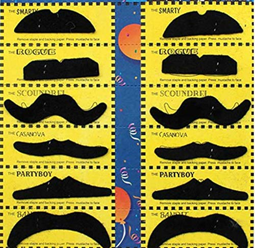 MXXGMYJ Fake Mustache Set Self Adhesive Hairy Black Mustaches Novelty Mustaches for All Ages Halloween Costumes Party Supplies -