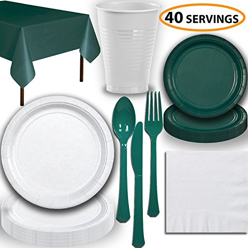 Disposable Party Supplies, Serves 40 - White and Hunter Green - Large and Small Paper Plates, 12 oz Plastic Cups, Heavyweight Cutlery, Napkins, and Tablecloths. Full Two-Tone Tableware Set