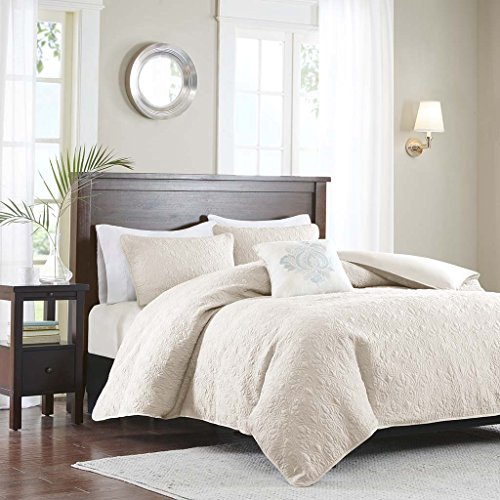 Madison Park Quebec Duvet Cover Full/Queen Size - Ivory, Damask Duvet Cover Set – 4 Piece – Ultra Soft Microfiber Light Weight Bed Comforter ()