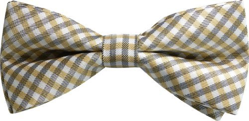 JTC Belt Great Quality Pre-Tied Bow Tie (Tan Plaid)