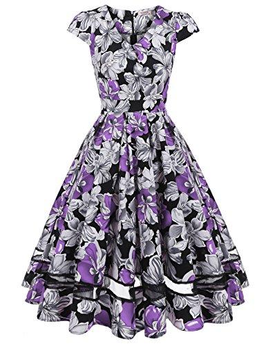 ACEVOG Damen 50s Vintage Rockabilly Kleid Festliches Kleid Blumenkleid  Partykleider Knielang mit Netzeinsatz Violett R7SXhQ 2443a5a0f6