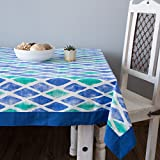 ShalinIndia Cotton Printed Table Cloth Cover Rectangle Table Cover-144x60-Inch,Blue Border
