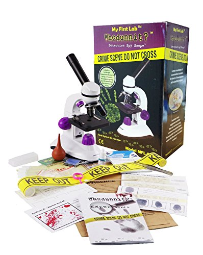 stem gifts for 5 year olds My First Lab Whodunnit? Kit - Microscope with 4x, 10x, and 40x Lenses - Recreate and Solve a Crime Scene - Teaches STEM Education