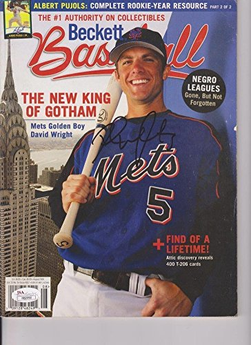 David Wright Signed Autograph Beckett Baseball Magazine JSA Certified H82292