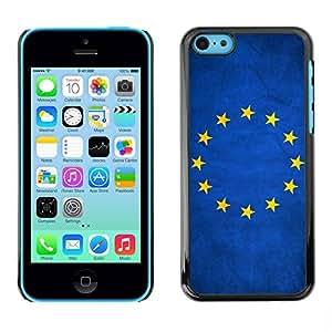 Caucho caso de Shell duro de la cubierta de accesorios de protección BY RAYDREAMMM - Apple iPhone 5C - European Union EU Grunge Flag