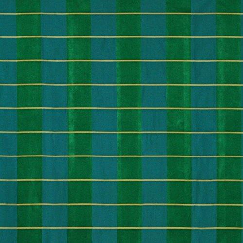 Fabric Robert Allen Beacon Hill Pallette Plaid Emerald 100% Silk Drapery JJ33