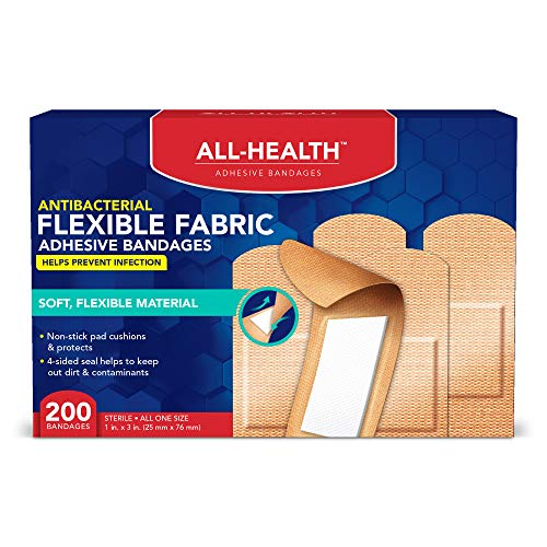 All-Health Antibacterial Flexible Fabric Adhesive Bandages, 1 inch, 200 ()