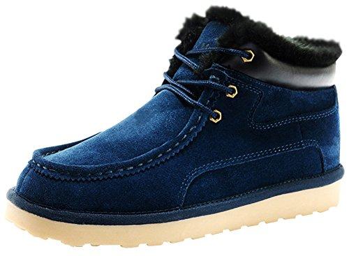Rock Me Men's Thicker Wool Leather Flat Waterproof Ankle Snow Boots III (7 D(M) US, Blue)