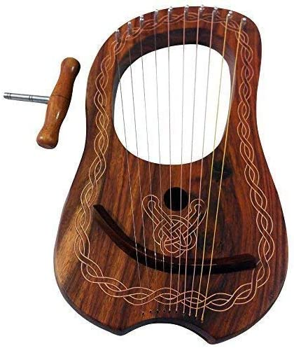 High Quality Harp Musical Instrument for Beginners Angle Engraved Rosewood Harp Made with Real Wood and 10 Metal String Kids Adults