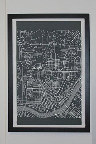 Cincinnati Ohio Map Canvas Poster 24 x - Columbus Ohio Shades