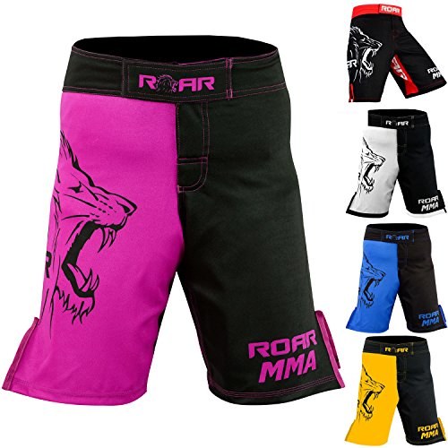 Roar MMA Boxing Shorts Mixed Martial Art Muay Thai BJJ Grappling UFC Fighting (Medium, Pink/Blk)