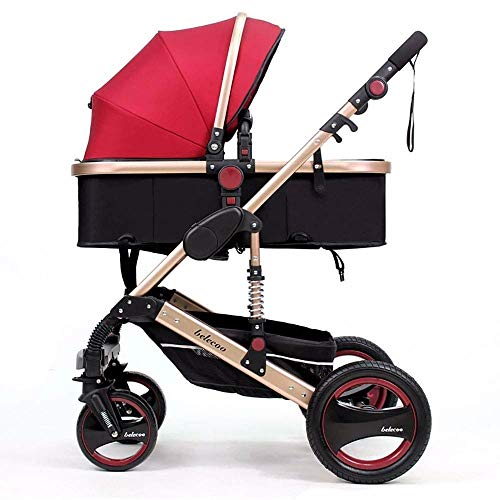 TZZ Baby Stroller Travel System High Landscape Carriage Compact Pram Pram with 5-Point Safety Belt Pushchair for Toddler Girls and Boys (Color : A)