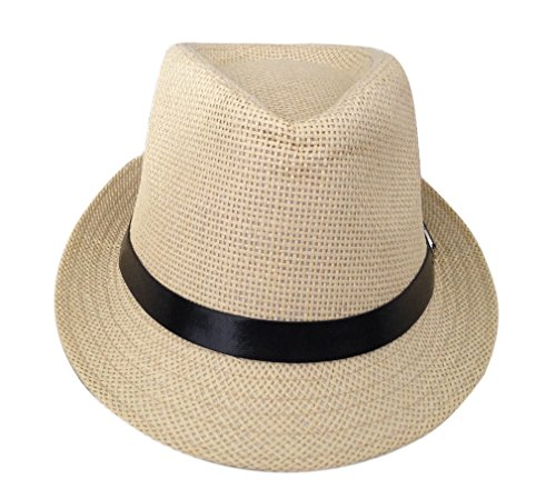 Golf Top Hat (JTC Summer Beach Panama Straw Hats Black Band with Leather Buckle)