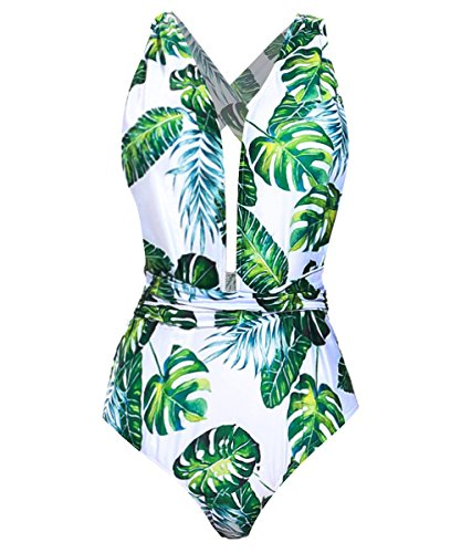 - Begonia.K Women's Tropical Print Deep V-Neck Criss Cross Floral One Piece Swimsuit, Green Leaf, Large