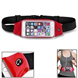 Red Sports Running Workout Waist Bag Belt Case Gym Pouch Reflective Cover with Touch Screen for T-Mobile Nokia Lumia 635 - T-Mobile Nokia Lumia 810 - T-Mobile Samsung Galaxy Avant (SM-G386T)