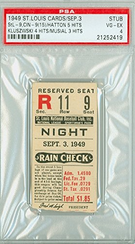 Louis Cardinals Tickets (1949 St. Louis Cardinals Ticket Stub vs Cincinnati Reds Ted Kluszewski 4 Hits Stan Musial 3 Hits - September 3, 1949 [[Graded Very Good to Excellent by PSA]] by Mickeys Cards)