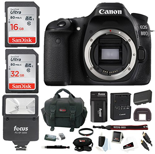 Canon EOS 80D Digital Camera: 24 Megapixel 1080p HD video DSLR Bundle with 48GB Camera Flash Double Battery and Travel Charger - Professional Vlogging Sports and Action Cameras