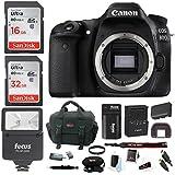 Canon EOS 80D Digital Camera: 24 Megapixel 1080p HD Video DSLR Bundle 48GB Camera Flash Double Battery Travel Charger - Professional Vlogging Sports Action Cameras