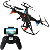2.4GHz Six Gyro Foldable Drone WiFi FPV Real-Time Video Remote Controlled Rechargeable Quadcopter Aircraft HD Camera Mantis(Black-FQ20W)