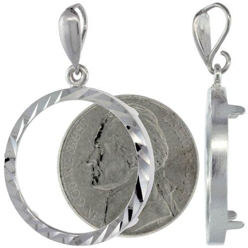 Sterling Silver Nickel Bezel 21 mm Coins Prong Back Diamond Cut 5 ()