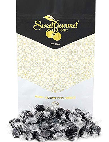 SweetGourmet No Sugar Added Isomalt Black Licorice Buttons | Bulk Hard Candy | 1 Pound