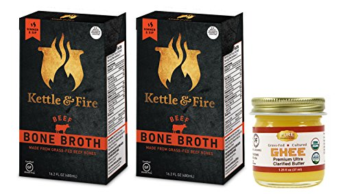 Kettle & Fire - 2 Organic Beef Bone Broths with Pure Traditions ghee - ( 2 Beef Broth 16.2 oz with 1.25 oz ghee) by Kettle & Fire