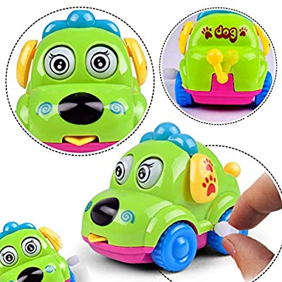 Maserfaliw Funny Cartoon Puppy Running Car Wind up Clockwork Educational Kids Toy Gift Random Color: Beauty