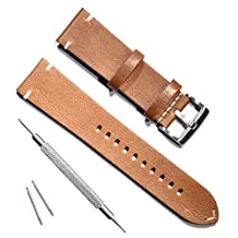 Green Olive 22mm Handmade Vintage Replacement Cowhide Leather Strap Watch Band (Oil Wax Leather/Brown)