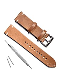 Handmade Vintage Leather Watch Strap/Watch Band (22mm, Oil Wax Leather/Minimalism Brown)