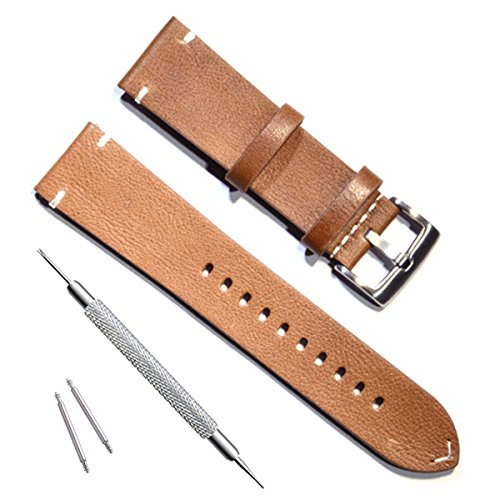 Handmade Vintage Replacement Leather Watch Strap/Watch Band (20mm, Minimalism Brown)