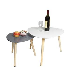 ease Set di 2 Tavolino da caffè Tavolino da Salotto Sovrapponibili da Salotto per Ufficio, Cucina, Soggiorno (Bianco+Grigio)