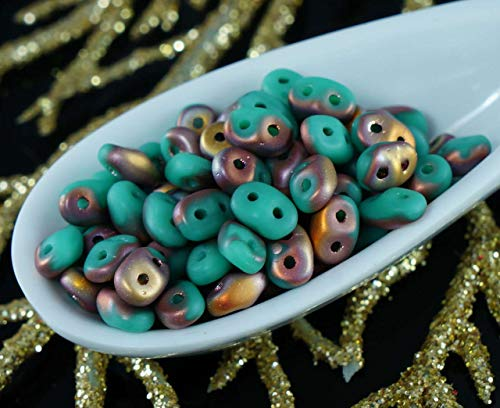 20g Turquoise Green Capri Gold Matte SUPERDUO Czech Glass Seed Beads Two Hole Super Duo 2.5mm x 5mm